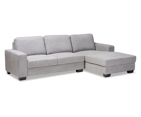 Baxton Studio Nevin Light Grey Fabric Sectional Sofa with Right Facing Chaise BAX-J099S-Light-Grey-RFC