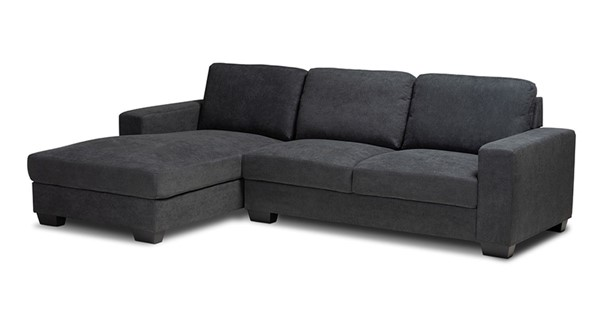 Baxton Studio Nevin Dark Grey Fabric Sectional Sofa with Left Facing Chaise BAX-J099S-Dark-Grey-LFC