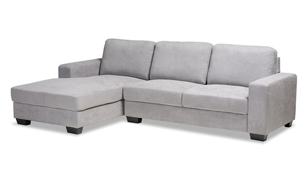 Baxton Studio Nevin Light Grey Fabric Sectional Sofa with Left Facing Chaise BAX-J099S-Light-Grey-LFC