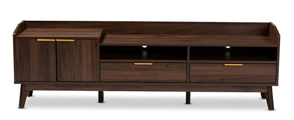 Baxton Studio Lena Walnut Brown Wood 2 Drawers TV Stand BAX-LV4TV4130WI-Columbia-TV