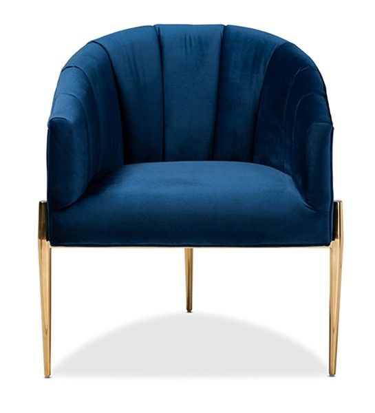 Baxton Studio Clarisse Navy Blue Velvet Upholstered Accent Chair BAX-TSF-DC6623-Navy-Gold-CC