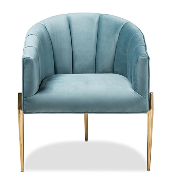 Baxton Studio Clarisse Light Blue Velvet Upholstered Accent Chair BAX-TSF-DC6623-Light-Blue-Gold-CC