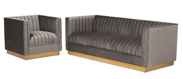 Baxton Studio Aveline Grey Velvet Upholstered 2pc Sofa and Armchair Set BAX-TSF-BAX66111-LR-S1