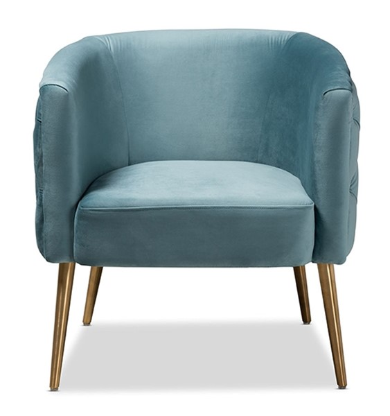 Baxton Studio Marcelle Light Blue Velvet Upholstered Accent Chair BAX-TSF-6622-LBLUE-GLD-CC
