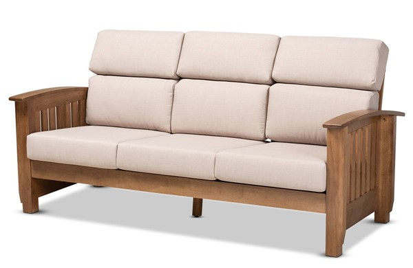 Baxton Studio Charlotte Taupe 3 Seater Sofa BAX-SW3513-Taupe-Walnut-M17-SF
