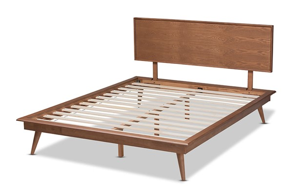 Baxton Studio Karine Walnut Brown Wood Platform Beds BAX-MG0004-BED-VAR