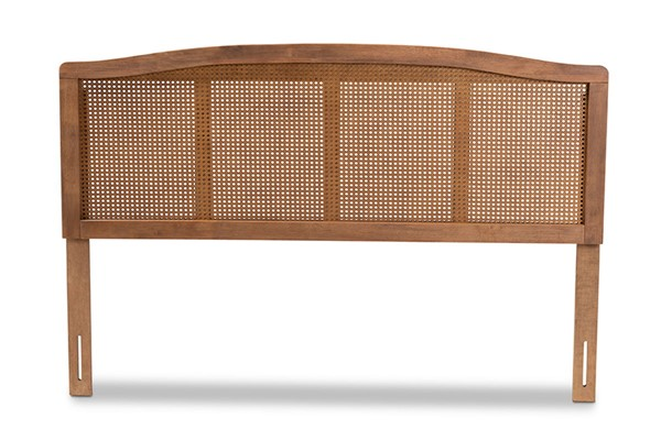 Baxton Studio Marieke Ash Walnut Wood Synthetic Rattan Wood Synthetic Rattan Headboards BAX-MG97132-HDBD-VAR
