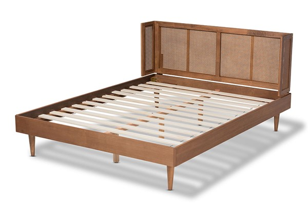 Baxton Studio Rina Ash Walnut Wood Synthetic Rattan Queen Platform Bed with Wrap Around Headboard BAX-MG97151-Ash-Walnut-Rattan-Queen