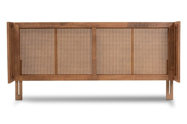 Baxton Studio Rina Ash Walnut Wood Synthetic Rattan Wood Synthetic Rattan King Wrap Around Headboard BAX-MG97151-ASH-WL-RTN-KHDBD
