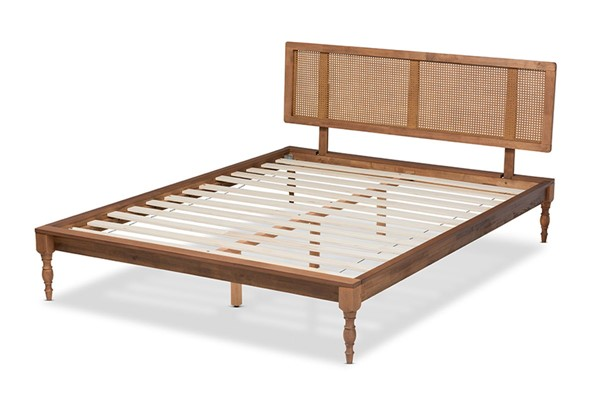 Baxton Studio Romy Ash Walnut Wood Synthetic Rattan Wood Synthetic Rattan Full Platform Bed BAX-MG0005-ASH-WL-RTN-F