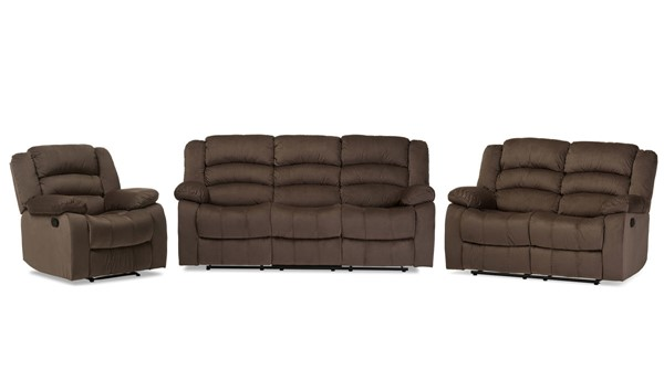Baxton Studio Hollace Taupe Microsuede 3pc Living Room Set BAX-98240-Brown-3PC-Set