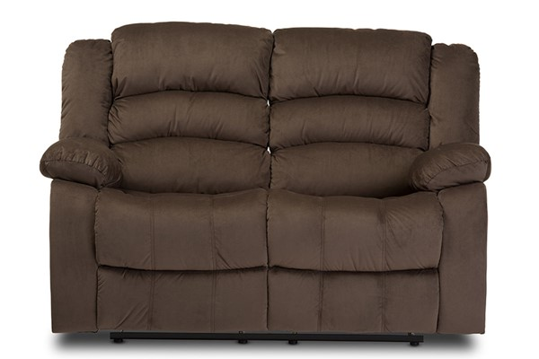Baxton Studio Hollace Taupe Microsuede 2 Seater Recliner Loveseat BAX-98240-Brown-LS