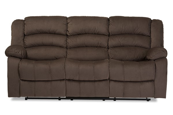 Baxton Studio Hollace Taupe Microsuede 3 Seater Recliner Sofa BAX-98240-Brown-SF