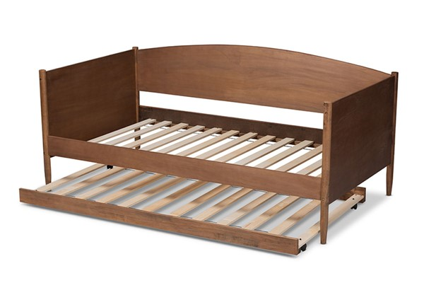 Baxton Studio Veles Ash Walnut Wood Synthetic Rattan Wood Daybed with Trundle BAX-MG0016-Ash-Walnut-Daybed-with-Trundle