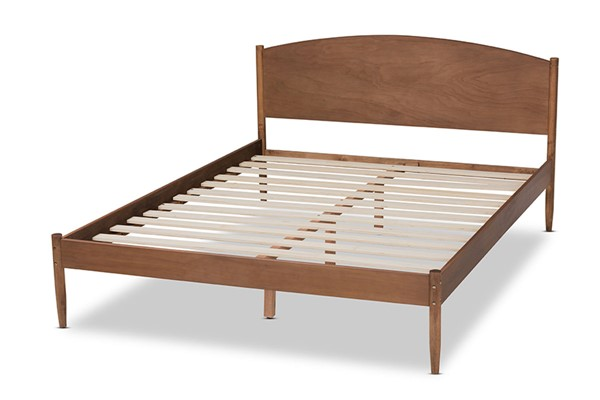Baxton Studio Leanora Ash Walnut Wood Synthetic Rattan Wood Queen Platform Bed BAX-MG0006-Ash-Walnut-Queen