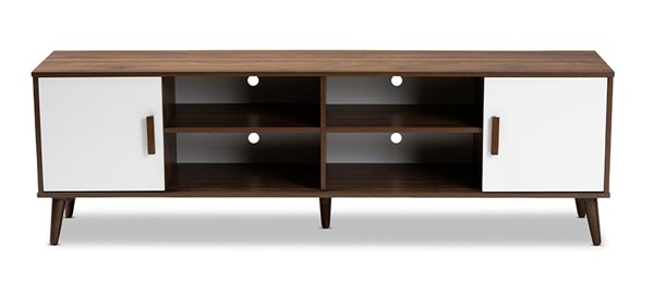 Baxton Studio Quinn White Walnut Wood 2 Doors TV Stand BAX-TV8003-COLMB-WL-WH-TV