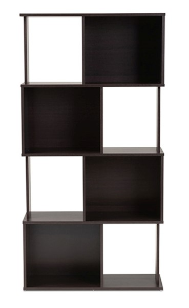 Baxton Studio Riva Dark Brown Wood Geometric Bookshelf BAX-BS8000-Wenge-Shelf