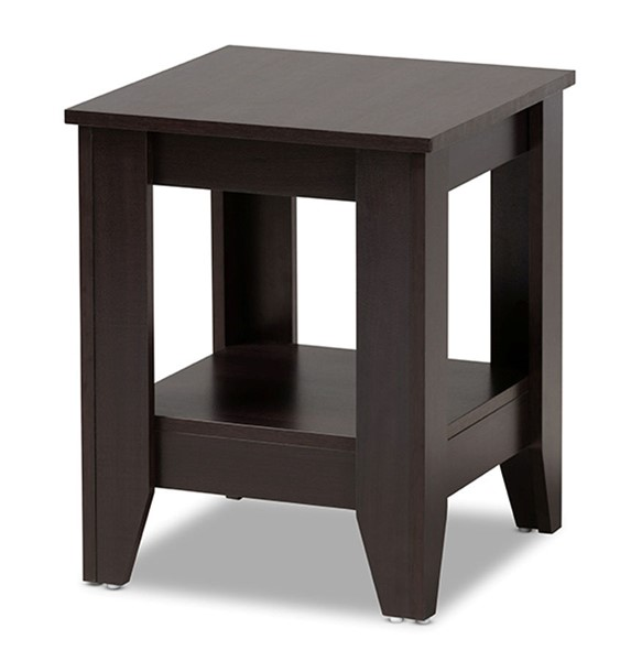 Baxton Studio Audra Dark Brown Wood Square End Table BAX-ET8000-Wenge-ET