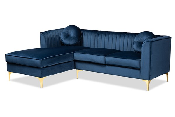 Baxton Studio Giselle Navy Blue Velvet Left Facing Sectional Sofa with Chaise BAX-TSF-6636-NVBL-GLD-LFC