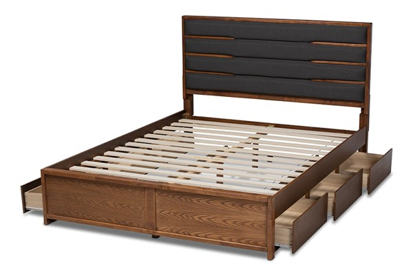 Baxton Studio Elin Dark Grey Fabric Walnut Wood 6 Drawers King Platform Bed BAX-MG4710-DGY-ASH-WL-K