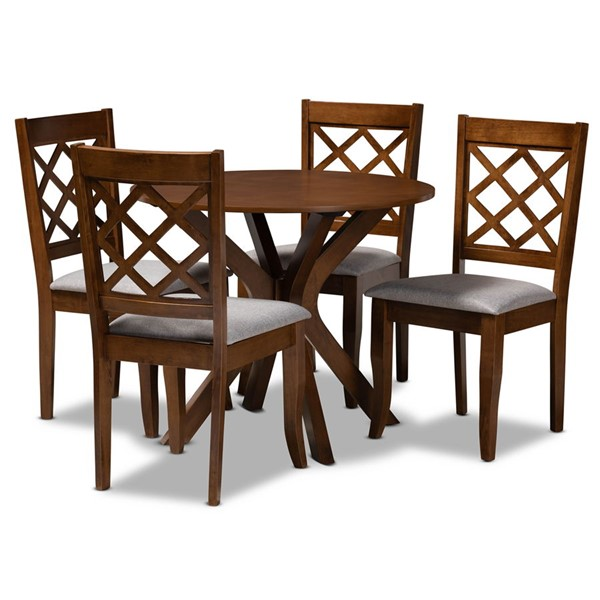 Baxton Studio Jana Grey Fabric Walnut Wood 5pc Dining Room Set BAX-Jana-Grey-Walnut-5PC-Dining-Set