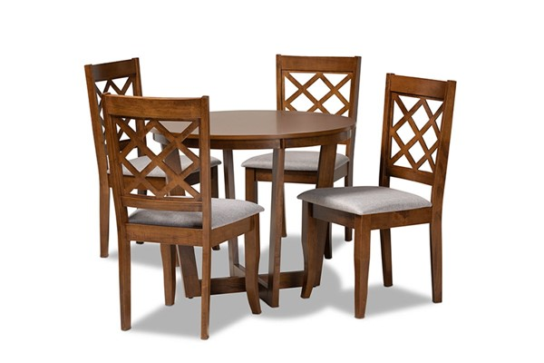 Baxton Studio Dayna Grey Walnut Brown 5pc Dining Set BAX-Dayna-Grey-Walnut-5PC-Dining-Set