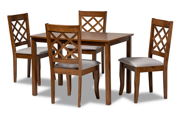 Baxton Studio Sari Grey Walnut Brown 5pc Dining Set BAX-SARI-GY-WL-5PCDINSET