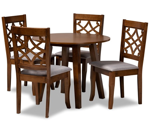 Baxton Studio Mya Grey Walnut Brown 5pc Dining Room Set BAX-MYA-GY-WL-5PCDINSET