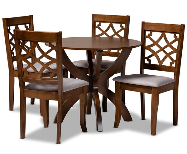 Baxton Studio Sandra Grey Walnut Brown 5pc Dining Room Set BAX-Sandra-Grey-Walnut-5PC-Dining-Set