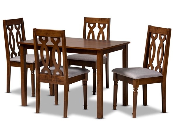Baxton Studio Kasia Grey Walnut Brown 5pc Dining Room Set BAX-Kasia-Grey-Walnut-5PC-Dining-Set