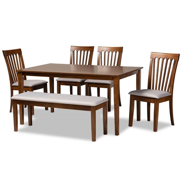 Baxton Studio Minette Grey Fabric Walnut Brown Finished Wood 6pc Dining Set BAX-RH319C-Grey-Walnut-6PC-Dining-Set