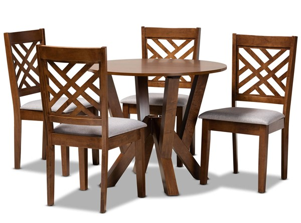 Baxton Studio Elise Grey Walnut 5pc Dining Room Set BAX-ELISE-GY-WL-5PCDINSET