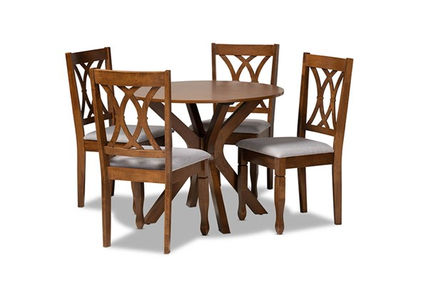 Baxton Studio Maya Grey Walnut Brown 5pc Dining Set BAX-Maya-Grey-Walnut-5PC-Dining-Set