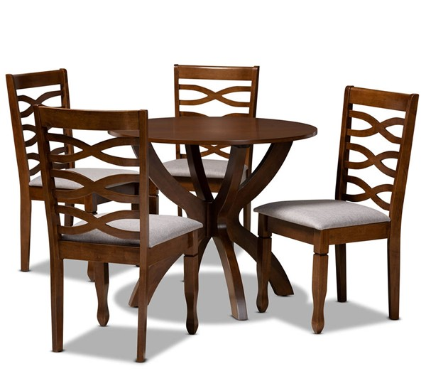 Baxton Studio Aspen Grey Walnut 5pc Dining Room Set BAX-ASPEN-GY-WL-5PCDINSET