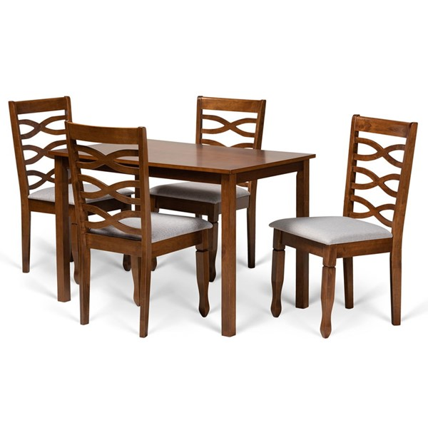 Baxton Studio Mirna Grey Fabric Walnut Brown Finished Wood 5pc Dining Set BAX-Mirna-Grey-Walnut-5PC-Dining-Set