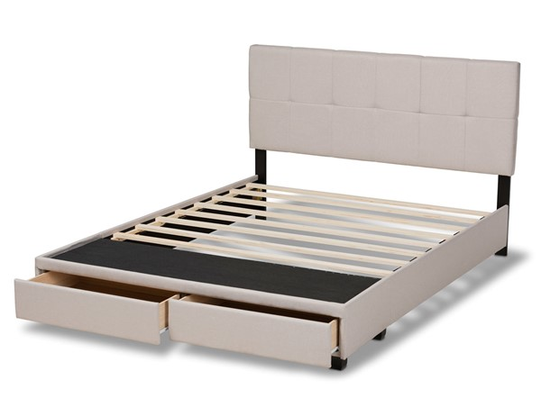 Baxton Studio Netti Beige Fabric Upholstered 2 Drawers King Platform Bed BAX-Netti-Beige-King