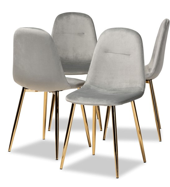 4 Baxton Studio Elyse Grey Velvet Upholstered Dining Chairs BAX-DC150-Grey-Velvet-Gold-DC