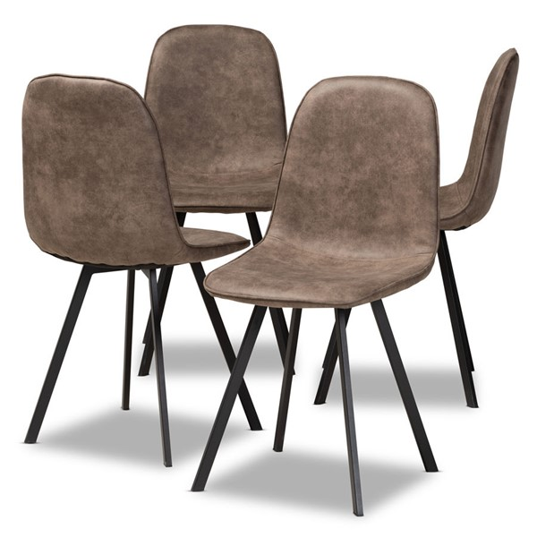 4 Baxton Studio Filicia Brown Fabric Upholstered Dining Chairs BAX-DC108-Grey-Black-DC