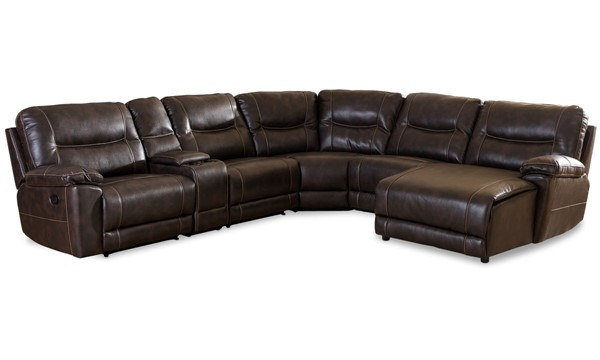 Baxton Studio Mistral Dark Brown 6pc Sectional With Recliners Corner Lounge Suite BAX-99170-Brown-SF