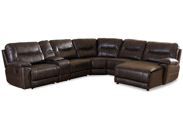 Baxton Studio Mistral Bonded Leather 6pc Sectional with Recliners Corner Lounge Suites BAX-99170-SEC-VAR