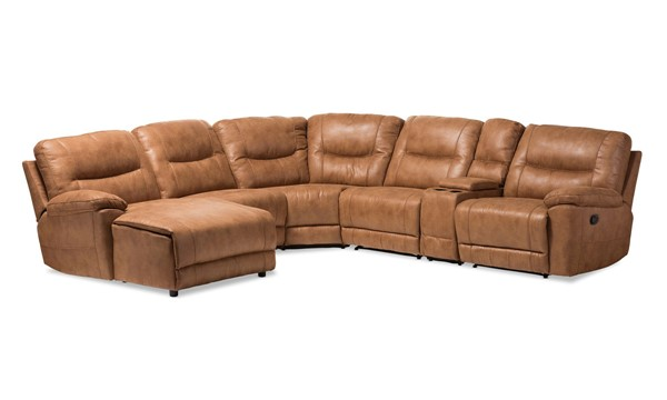 Baxton Studio Mistral Light Brown 6pc Sectional With Recliners Corner Lounge Suite BAX-99170-J109-Light-Brown-LFC