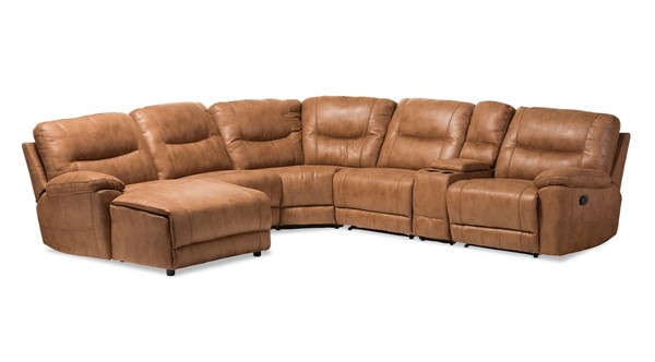 Baxton Studio Mistral Light Brown Palomino Suede 6pc Sectional with Recliners Corner Lounge Suite BAX-99170-J109-Light-Brown-SF