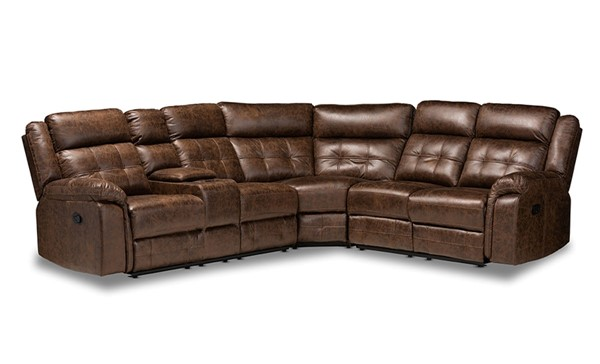 Baxton Studio Vesa Leather Like Fabric 6pc Sectional Recliner Sofa with 2 Reclining Seats BAX-7271C-SEC-VAR