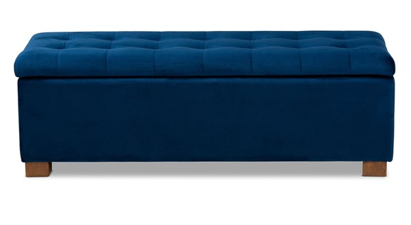 Baxton Studio Roanoke Navy Blue Velvet Upholstered Storage Ottoman Bench BAX-BBT3101-Navy-Velvet-Walnut-Otto
