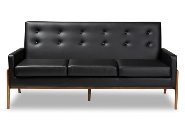 Baxton Studio Perris Black Faux Leather Upholstered Sofa BAX-BBT8042-Black-Walnut-SF