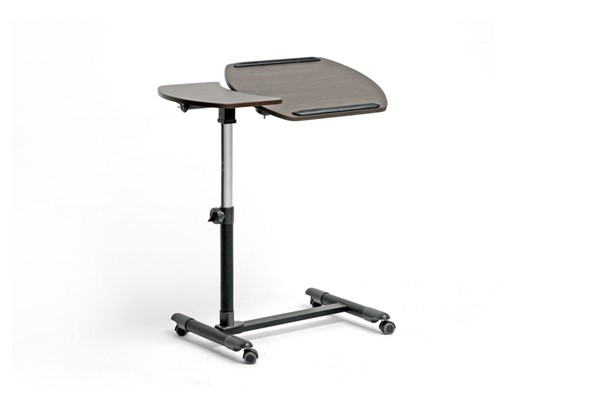 Baxton Studio Olsen Dark Brown Wheeled Laptop Tray Table with Tilt Control BAX-AA-10T-1-wenge-desk