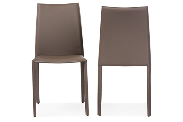 2 Baxton Studio Rockford Taupe Bonded Leather Upholstered Dining Chairs BAX-ALC-1025-Taupe