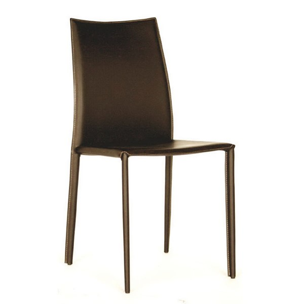 2 Baxton Studio Rockford Brown Bonded Leather Upholstered Dining Chairs BAX-ALC-1025-Brown