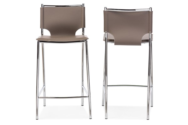 2 Baxton Studio Montclare Taupe Bonded Leather Upholstered Counter Bar Stools BAX-ALC-1083A-65-Taupe