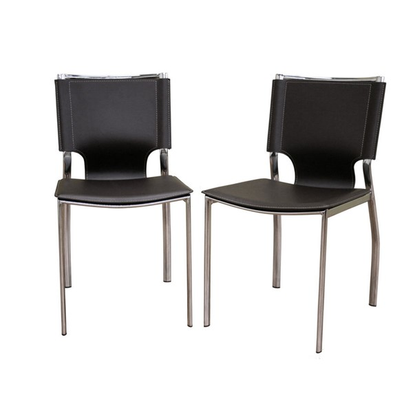2 Baxton Studio Brown Dark Brown Leather Dining Chairs with Chrome Frames BAX-ALC-1083-Brown